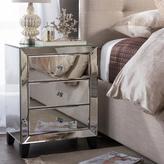 Baxton Studio Chevron Contemporary Silver Metallic Finish Wood 3-Drawer Nightstand