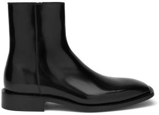 Balenciaga Square Toe Leather Boots - Mens - Black