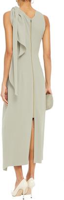 Roland Mouret Bow-detailed Draped Wool-crepe Midi Dress