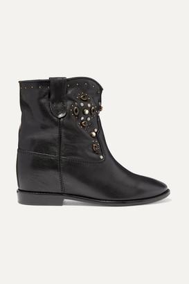 Isabel Marant Cluster Embellished Leather Ankle Boots - Black