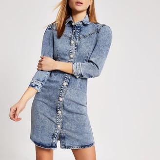 River Island Womens Blue puff sleeve fitted denim mini dress