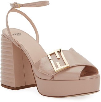 Fendi 110mm Platform Sandals with FF Buckle