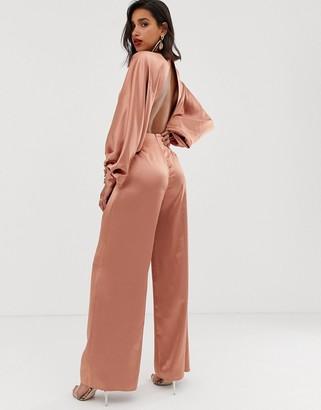 Asos Edition EDITION blouson sleeve satin jumpsuit-Pink