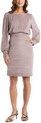 Nightway Balloon-Sleeve Textured Sheath Dress