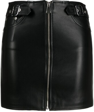 Manokhi Zip-Up Leather Skirt