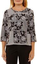 Alfred Dunner Easy Going 3/4 Sleeve Crew Neck T-Shirt-Womens