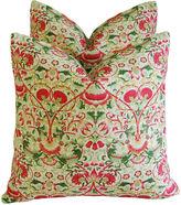One Kings Lane Vintage Colorful Floral Linen Pillows, Pair