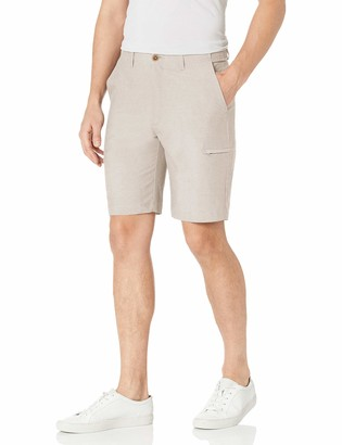 Haggar Men's Active Series Stretch Performance Utility Flat Front Straight Fit Superflex Waist Short