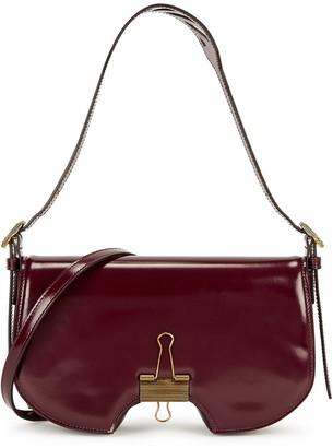 Off-White Swiss burgundy leather shoulder bag