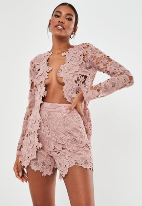 Missguided Blush Co Ord Crochet Lace Shorts