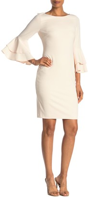 Calvin Klein Solid Bell Sleeve Sheath Dress