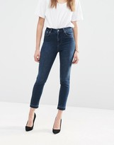Asos FARLEIGH High Waist Slim Mom Jean in Drew Wash with Let Down Hem