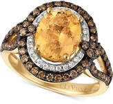 LeVian Le Vian Chocolatier® Papaya MorganiteTM (1-3/4 ct. t.w.) and Diamond (3/4 ct. t.w.) Ring in 14k Gold