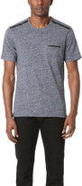 The Kooples Faux Leather Trim Pocket Tee
