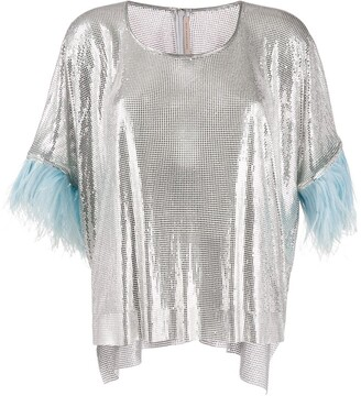 Christopher Kane Chain Mail Feather-Trimmed Top