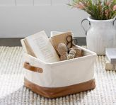 Pottery Barn Carlo Canvas & Leather Utility Basket