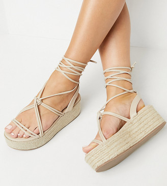 Glamorous Wide Fit flatform espadrille sandals in blush