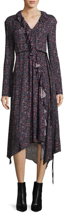 Magda Butrym Ferrara Long-Sleeve Floral-Print Silk Midi Dress, Purple