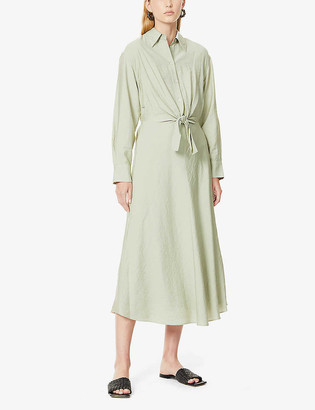 Vince Collared tie-front woven midi dress