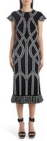 Alexander McQueen Jacquard Ruffle Hem Midi Dress