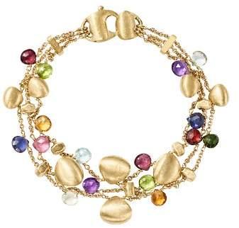 Marco Bicego 18K Yellow Gold Paradise Teardrop Three Strand Gemstone Bracelet