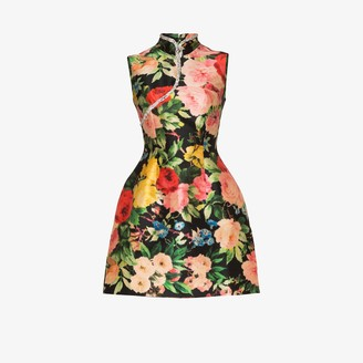 Richard Quinn Qipao floral print silk mini dress