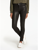 J Brand 811 Mid Rise Skinny Coated Jeans, Coated Black Lace