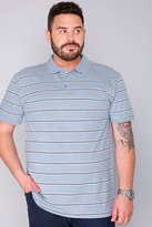 Yours Clothing BadRhino Blue Marl Jersey Short Sleeve Polo Shirt With White And Navy Stripe