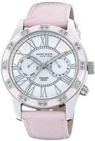 Anne Klein Women's 122019PMPK Genuine Diamond Silver-Tone Pink Enamel Multi-Function Strap Watch