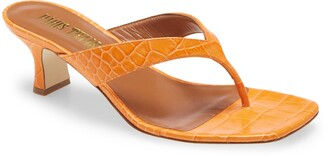 Paris Texas Croc Embossed Thong Sandals