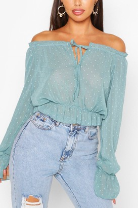 boohoo Woven Dobby Off The Shoulder Top