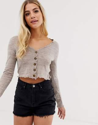 Asos Design DESIGN fine knit cardigan with ruffle detail-Stone