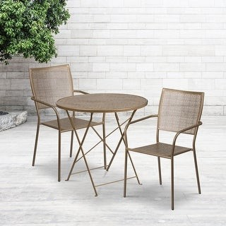 """Flash Furniture 30"""" Round White Indoor-Outdoor Steel Folding Patio Table Set with 2 Chairs"""