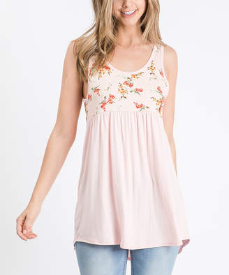 Cool Melon Women's Tank Tops Peach - Peach & Fucshia Floral Color Block Sleeveless Tunic - Women & Plus
