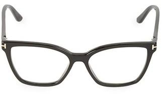 Tom Ford 53MM Blue Block Square Convertible Clip Sunglasses