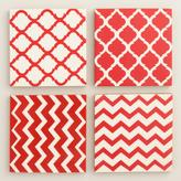 Red and White Resin Coasters Set of 4