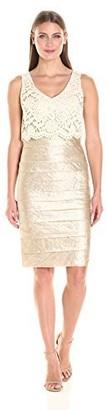 London Times Women's Sleeveless V Neck Lace Sheath Dress