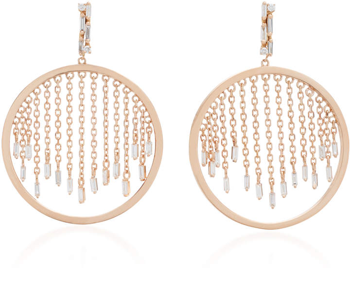 Suzanne Kalan 18K Rose Gold and Diamond Hoop Earrings