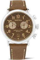 Shinola The Runwell Chronograph 41mm Stainless Steel And Leather Watch - Brown