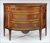 The Well Appointed House Louis XVI Style Half Round Three Drawer Chest