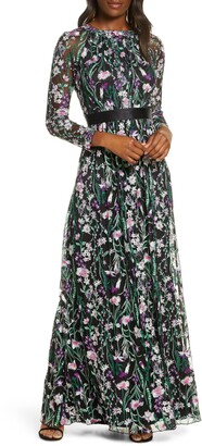 Tadashi Shoji Embroidered Long Sleeve Gown
