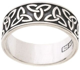 Carolina Glamour Collection Polished Silver Oxidized Celtic-knot/Trinity Band Ring