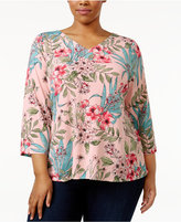 Charter Club Plus Size Split-Back Floral-Print Top, Only at Macy's