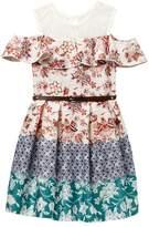 Beautees Belted Cold Shoulder Floral Dress (Big Girls)