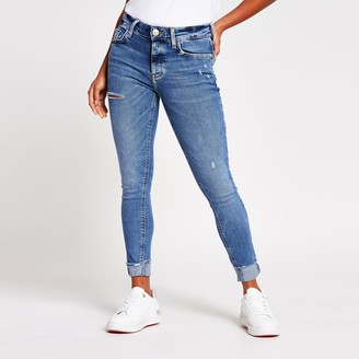 River Island Womens Petite Blue amelie mid rise ripped jean