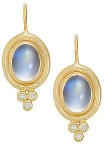 Temple St. Clair Women's Royal Blue Moonstone, Diamond & 18K Yellow Gold Drop Earrings