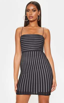 PrettyLittleThing Black Striped Mesh Strappy Bodycon Dress