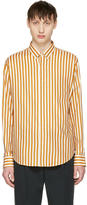 Ami Alexandre Mattiussi Orange and Ecru Striped Shirt