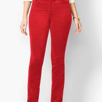 Talbots High-Rise Straight-Leg Velveteen Pant - Solid - Curvy
