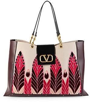 Valentino Women's Garavani City Safari Embroidered Canvas & Leather Tote